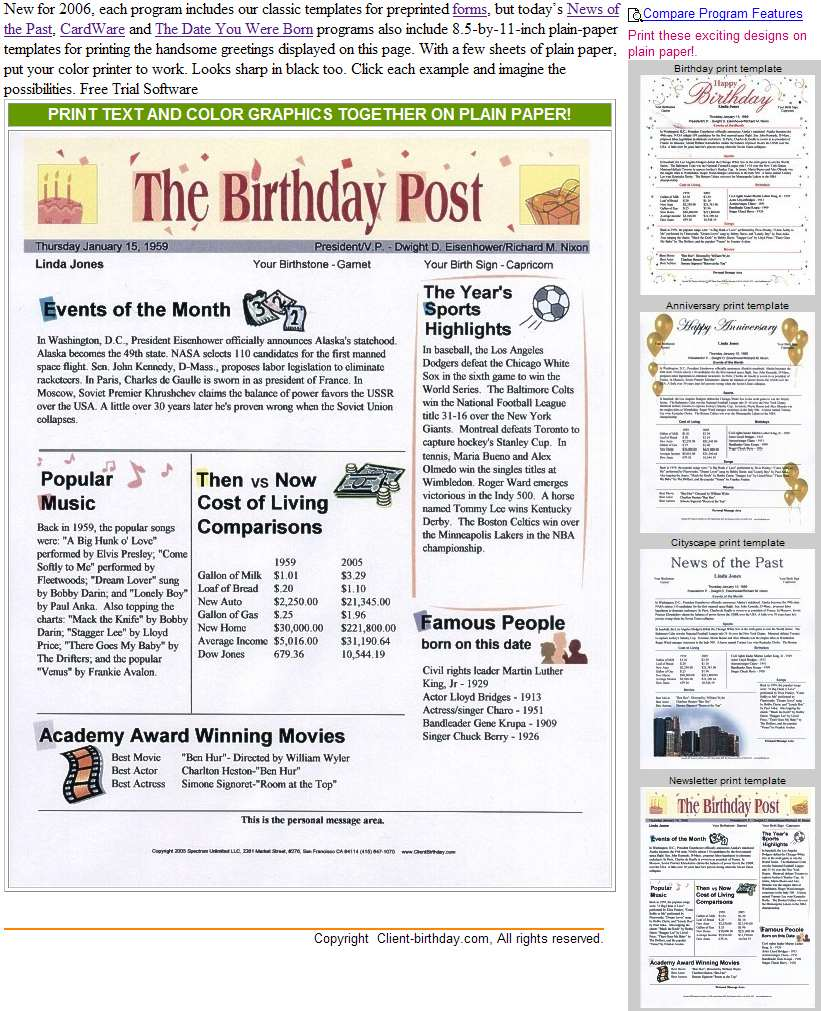 birthday news, birthday software, birthday program, news of the past, birthday, newspaper, headlines, time capsule, the date you were born, birthday fun facts, the birthday chronicle, news from the past, birthday bios, birthday facts, cardware